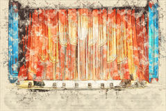 Concept, sketch interior of the old theater, the audience waiting for the op Royalty Free Stock Image