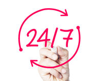 24/7. Concept sketched on white royalty free stock photo