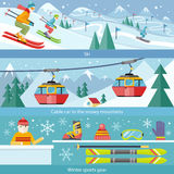 Concept Skiing Winter Sport Flat Style. Cable car, gear snow, hobby and boot, season sporting, shoes and leasure, downhill and skier, speed extreme, activity Stock Photos