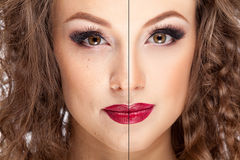 Concept before and after skin cleaning Royalty Free Stock Images