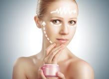 Concept skincare. Huid van schoonheidsvrouw met facelift, plastic su royalty-vrije stock fotografie