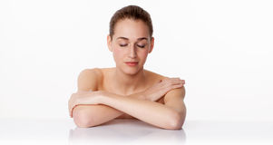 Concept of skincare and pampering bodycare with 20s woman relaxing Royalty Free Stock Photos