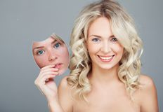 Free Concept Skincare With Mask . Skin Of Beauty Young Smiling Woman Before And After The Procedure. Woman Do A Choice Stock Images - 165049954