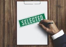 Concept sélectionné de statut de sélection de résultat de décision oui Photo libre de droits