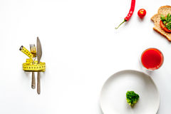 Concept slimming diet fresh vegetables on white background top view Royalty Free Stock Photo
