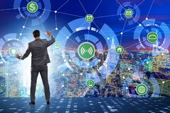 The concept of smart city with businessman pressing buttons royalty free stock images