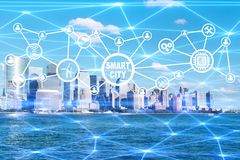 The concept of smart city and internet of things. Concept of smart city and internet of things royalty free stock photos