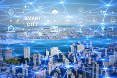 The concept of smart city and internet of things Stock Photos