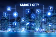 The concept of smart city and internet of things Royalty Free Stock Image