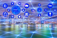 The concept of smart city and internet of things. Concept of smart city and internet of things stock photo