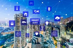 The concept of smart city and internet of things. Concept of smart city and internet of things royalty free stock image