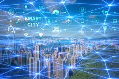The concept of smart city and internet of things royalty free stock photography
