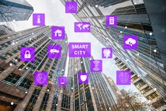 The concept of smart city and internet of things. Concept of smart city and internet of things stock images