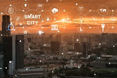 The concept of smart city and internet of things. Concept of smart city and internet of things royalty free stock photography