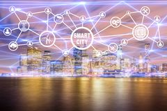The concept of smart city and internet of things. Concept of smart city and internet of things royalty free stock images