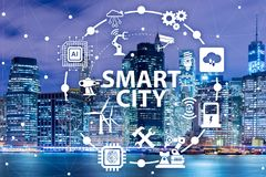The concept of smart city and internet of things. Concept of smart city and internet of things stock photos