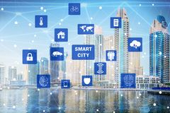 The concept of smart city and internet of things. Concept of smart city and internet of things stock photography