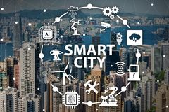 The concept of smart city and internet of things. Concept of smart city and internet of things stock image
