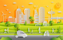 Concept of smart city with technologies of future and urban innovations stock photo