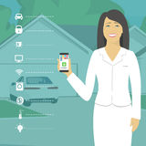 The concept of smart home  Girl holding the phone with programs. The concept of smart home . Girl holding the phone with programs you smart home . Vector Stock Photos