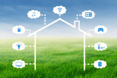 Concept of smart home technology system Royalty Free Stock Photo