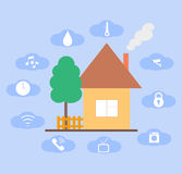 Concept of smart house technology. In flat design style Stock Photos