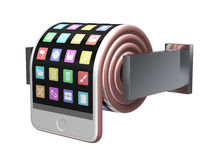 Concept Of Smartphone Like A Toilet Roll Stock Photos