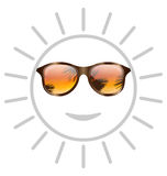 Concept of Smile Sun with Sunglasses. Illustration Concept of Smile Sun with Sunglasses - Vector Stock Image