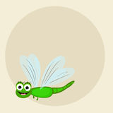 Concept of smiling dragonfly with blank frame. Royalty Free Stock Photos