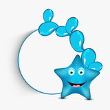 Concept of smiling funny starfish cartoon. Funny smiling starfish with blue water drop and blank frame for your message Royalty Free Stock Photo