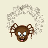 Concept of smiling spider with floral design. Royalty Free Stock Image