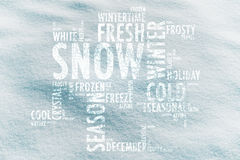 Concept snow cloud words on snow texture background Royalty Free Stock Photo