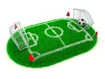 Concept Soccer. 3D Concept Football in Gate on White Background stock illustration