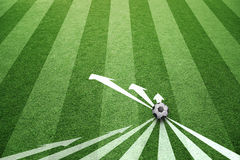 Concept soccer ball arrows strategy background. Conceptual soccer play abstract strategy planning with soccer ball and arrows. Soccer game copy space background Royalty Free Stock Photos