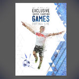 Concept of soccer player with а colored dots assembled in figure football Stock Photos