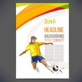 Concept of soccer player with colored geometric shapes Royalty Free Stock Photo