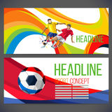 Concept of soccer player with colored geometric shapes. Assembled in figure football  Background of different color bands intertwined. champion football game Stock Photos