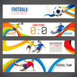 Concept of soccer player with colored geometric shapes assembled in figure football. Background of different color bands intertwined. champion football game Royalty Free Stock Photography