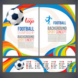 Concept of soccer player with colored geometric shapes assembled in figure football. Background of different color bands intertwined. champion football game Stock Image