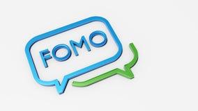 Concept sociaal media praatjepictogram met FOMO-tekst royalty-vrije illustratie
