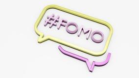 Concept sociaal media praatjepictogram met FOMO-tekst vector illustratie