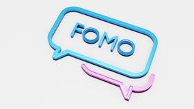 Concept sociaal media praatjepictogram met FOMO-tekst stock illustratie