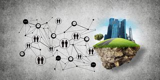 Concept of social communication in the city. Royalty Free Stock Photo