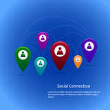 Concept of social connection. With colorful pin icons Royalty Free Stock Image