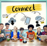 Concept social d'amis de communication de connexion de media Photo libre de droits