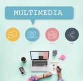 Concept social d'icônes de boutons de media image stock