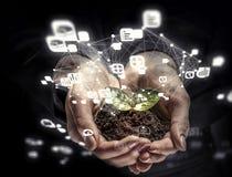 Concept social d'interaction 3d rendent Media mélangé Images libres de droits