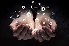 Concept social d'interaction 3d rendent Photos libres de droits