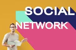Concept social de causerie de connexion de la Communauté de réseau de media Photographie stock libre de droits