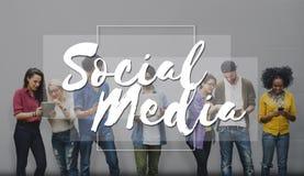 Concept social de causerie de mise en réseau de connexion de media Images libres de droits